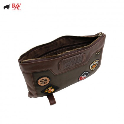 RAV DESIGN 100% LEATHER CLUTCH WITH BADGE |RVC436G1