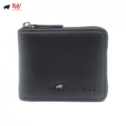 RAV DESIGN Leather Men Short Zip Closure Anti-Rfid Wallet |RVW589G2