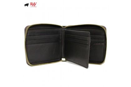 RAV DESIGN Leather Men Anti-RFID Short Wallet Zip Closure |RVW577G2