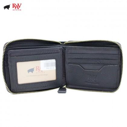 RAV DESIGN Leather Men Anti-RFID Short Wallet Zip Closure  RVW577G2