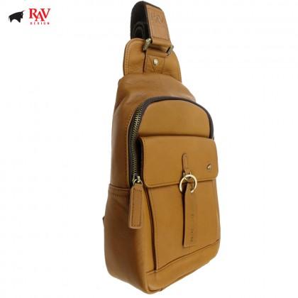 RAV DESIGN 100% Genuine Leather Chest Bag Light Brown |RVC454G3