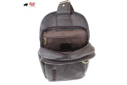 RAV DESIGN 100% Genuine Leather Chest Bag Dark Brown  RVE463G2