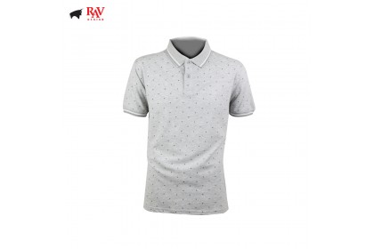 Rav Design Men Polo T-Shirt Shirt Grey |RCT30632091